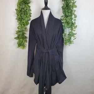 Acevog wrap tie open front cardigan, black